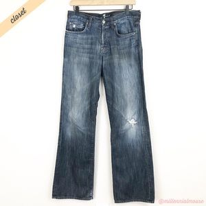 [7FAM] Men's Med Wash Distressed Relaxed Fit Jeans